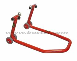 Front adjustable under fork paddock stand with pin adaptors